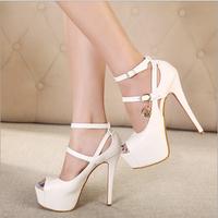 women's high heels platform sandals sexy sandals shoes open toe toe 14cm cross strap cross-tied sy-680