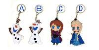 wholesale 3D Cartoon Frozen keychain Elsa Anna Olaf keychains dolls  30PCS /LOT for kids and children's gift