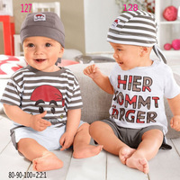 SH045 New 2014 free shipping Retail 1 set Top Quality baby clothing set casual boy hat+tops+shorts kid 3pc suit 2 style in stock