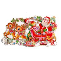 Free shipping  King Deer Santa Christmas sticker sticker pull carts
