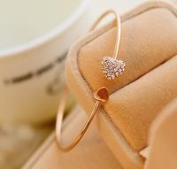 Free shipping Beautiful girl Fashion Alloy Rhinestone Bracelet Silver Bangle Jewelry Wholesale YBR-006