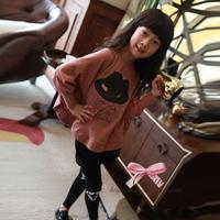 sz100~160 Spring Autumn girls bat shirt+pants suit Child T-shirt kids t shirt children clothing set 30p grey