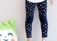 Free shipping 5 pc/lot 2014 Autumn New Colorful DOT Patch Girl's Leggings / Legging For Kids Wear Garment