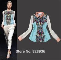 European Style 2014 Summer Transformers Printed Chiffon Blouses Shirt Tops Long Sleeve Hot Selling High Quality Turn Down Collar