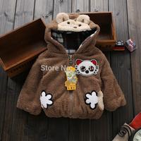 2014 Children's cute plush cartoon panda baby boys and girls jacket coat thick warm coat cardigan parkas kids