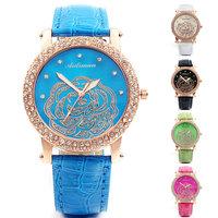 5 Colors Geneva Vintage PU Leather Wristwatch  Rose Rhinestones Casual Watch Fashion Woman Dress Watch