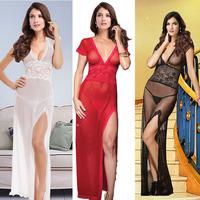 2014 Sexy Women Nightdress Short Sleeve V-neck Lady Lingerie Long Lace Nightwear Black White Red Babydoll Underwear
