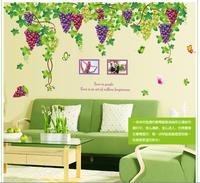 196*140cm Grape Butterfly photo Frame DIY Vinyl cartoon wall art decals Sticker,mural poster home decor decoration new 2014