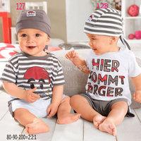 2014 New cotton Toddlers children baby boys girls autumn spring 3 pcs clothing set suit Pattern baby shirt +Headband+pants sets