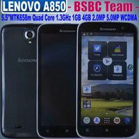 Original New Lenovo A850 A850i A850 fage 5.5 '' IPS 960X540 pixels Quad Core 1.3GHz MTK6582M 1G 4GB/8GB WCDMA GPS 5.0MP 2250mah
