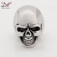 Full Size Finger Rings Fashion Exaggerated Laughing Titanium Steel Ring Smooth Biker Skeleton Skull Rings For Men, RN2811