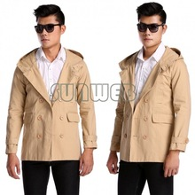 2014 New Men's Fashion Casual Double Breasted Trench Slim Fit Long Blazer Coats Men Coat Down Military Jackets SV18 SV007661(China (Mainland))