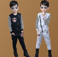 sz100~150 Spring Autumn boys pullovers+pants suit Child hoodies kids tracksuits children clothing set 30p leopard panther print