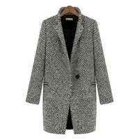 Scolour Women Large Lapel Wool Cashmere Long Parka Coat Trench Outwear Jacket Freeshipping& wholoesale