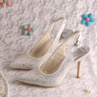 (15 Colors)Magic Bride Italian High Heel Shoes Crystal for Wedding Pointed Toe Slingback Style Dropshipping