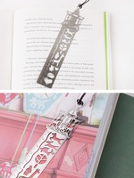 Novelty metal bookmarks carving slivery Fairy Tales ruler Exquisite vintage stationery gift  Wholesale