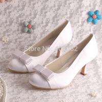 (15 Colors)Magic Bride White Elegant Ladies Med Heel Shoes for Wedding Bridal Pumps Bows Decoration