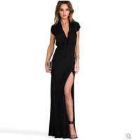 Autumn Summer Women Sexy Bandage Club Evening Long Dress Asymmetrical V-Neck Slim Bust Wrap High Waist Fashion Vestidos D548