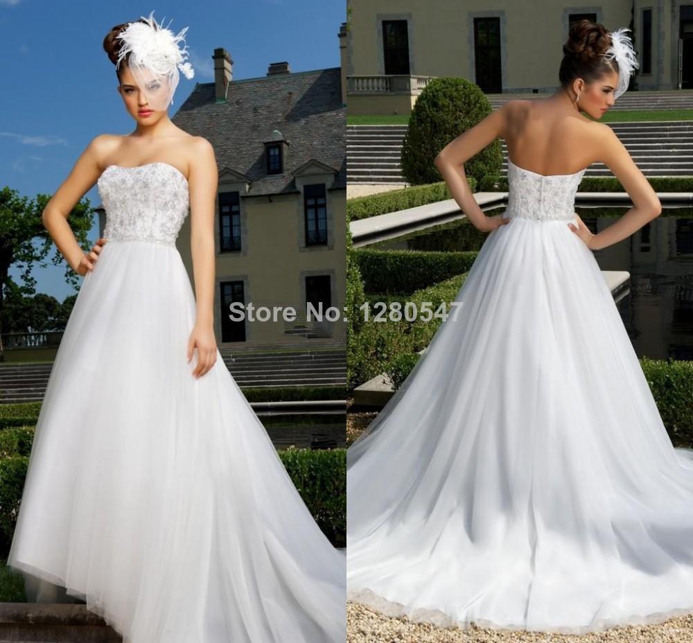 StunningBeauty 2014 Spring Strapless Ball gown Mariage Women Organza Chinese Wedding Dress Long train 2 4 6 8 10 12 14 16+++(China (Mainland))