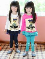 Retail-Fashion Solid color Cotton Girls Leggings with Ruffles Skirt Skirt Leggings for kIDS Children  Girl Wear Sky blue Navy