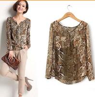 blusas femininas 2014 casual women chiffon blouses shirt women clothing Python pattern free shipping