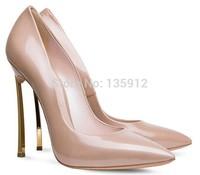 2014 new Kim Kardashian Metal Blade high heels 12cm pointed-toe blade heel casade pumps women's famous brand shoes size 35-41