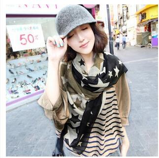 2014 outono / inverno cachecol de lã é fiada lenços de seda grande de cinco pontas padrão da estrela do lenço cor xale Grande(China (Mainland))
