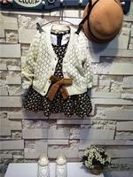 Korean version of the high children's clothing wholesale waist dress with a wool cardigan factory flower print dress girls