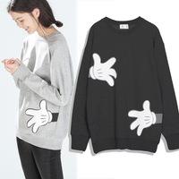 Europe style 2014 new Autumn Creative Cute Mickey gloves pattern printed sweatshirts women, long sleeve sport wear women coat