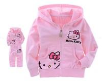 Lovely Kitty Design Girl T-shirt and Pants Set Children Hoody&Pants Girl Clothing Set Size 90-130 1set Free Shipping NYT-023