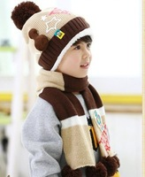 2pieces/lot  Free shipping Winter Children Hats+Scarf Sets Baby Pocket Beanie Boys Girls Skullcap Retail #0950