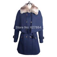 2014 new winter women coat Detachable fur collar double-breasted wool coat cape Adjustable Waist Coat Free Shipping