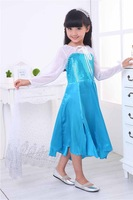 2014 New Autumn Frozen Dress Long Sleeve Princess Girls dresses Elsa Girl Long Dress 5 pieces / lot 1177