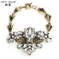 Free Shipping New Arrival Fashion Vintage Mental Crystal Beads Flower Luxury Women New Bracelets Fashion Jewelry for women