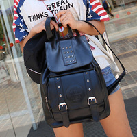 4 Color Newest HOT Vintage School Bags Solid Color All-Match  Fashion Women Backpack Double Shoulder Bags Travel Bags