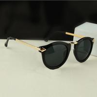 2014 Fashion Summer Mirrored Sunglasses Metal Arrow Brand Designer Women Sunglasses Vintage Round Glasses