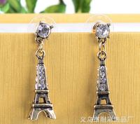 Free Shipping new Fashion temperament Paris Eiffel Tower Earrings vintage rhinestone Drop Earrings Jewelry For Women wholesale