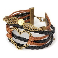 2014 new arrival Cool black & brown heart decorated woven rope design alloy Korean Fashion bracelets vintage for women