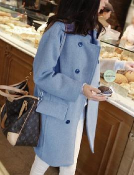 Быстрый / бесплатная доставка новый корейский 2014 мода осень и зима двойной брестед шерстяные широкий свободного покроя женщин пальто женский пальто B025