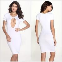 FREE SHIPPING  Sexy Bust Hollow Out Woman Dress Woman White Bandage Dress 2014 Fashion