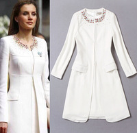 Best Grade British Kate Style 2014 Winter Fashion Colorful Beading Wool Trench Coat +White Dress Noble Two Piece Suit