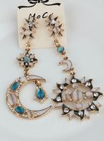 Korean fashion retro exaggerated temperament crystal sun moon pendant earrings women jewelry