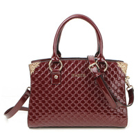 2014 Winter women leather handbags luxury golden metal design with strong bottom high quality wristlets wine red black 2 colors