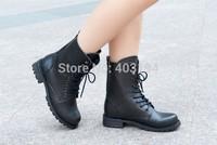 Fashion 2014 Winter Boots Women&Men Unisex Motorcycle Boots Platform High Heels Booties Shoes woman Black LX4 Pius Size 35-42