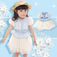 Free shipping Elegant blue denim lace dress  princess Tong dress kids dress clothing set baby girl