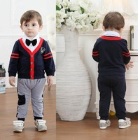 fshion brand children boys sports suit solid v-neck 3pcs set with tie clothing set full kandsome baby bodysuits