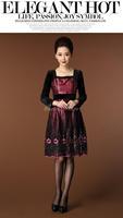 Flower 2014 New Autumn and Winter Fashion Printed Vintage Dress with Sequins Vestidos Femininos Longos Estampados
