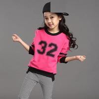 sz100~150 Spring Autumn girls pullovers+pants 2pcs suit Child hoody kids tracksuits children clothing set 30p