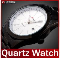 2014 New Fashion Men Full Steel Watch Clock Quartz Analog Dress Watches Date Work Casual Wristwatch White Black Waterproof