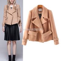 2014 NEW Winter Women's Trendy Lapel Notched Collar Personalized Double Zipper Pockets Woolen Blend Short Jacket Coat Outwear